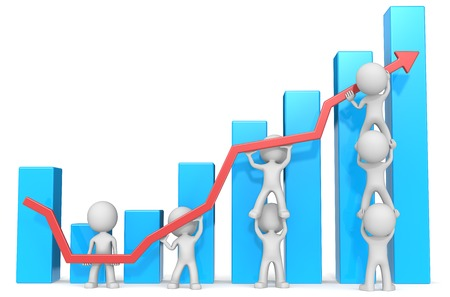 Dude 3D characters X7 business people pushing up red Graph. Blue Bars.
