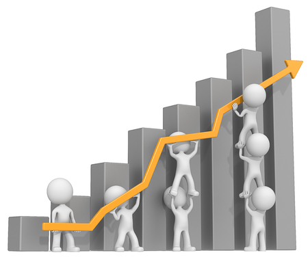 dude:   Dude 3D characters X7 business people pushing up orange Graph. Dark Gray Bars. Stock Photo