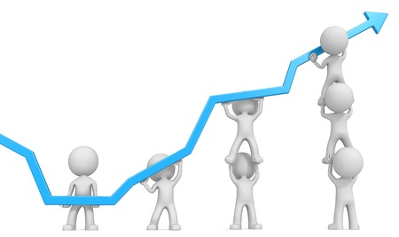 dude:   Dude 3D characters X7 business people pushing up Blue Graph. White background. Stock Photo