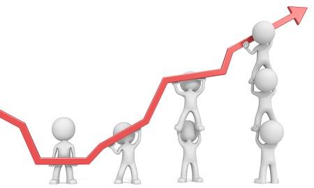 empujando: Empresarios caracteres X7 Amigo 3D empujando hacia arriba Rojo Gráfico. Fondo blanco.