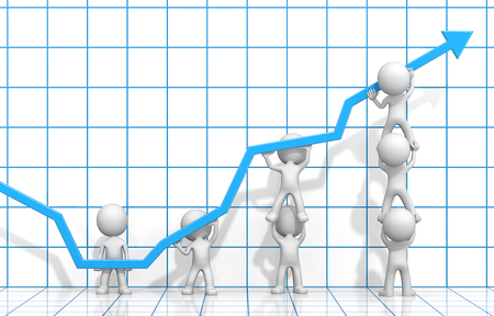 dude:   Dude 3D characters X7 business people pushing up Blue Graph. Blue 3D Grid background. Stock Photo