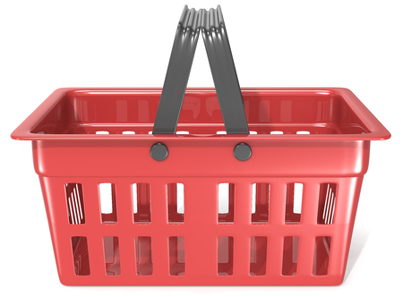Shopping Basket. Side view of an empty Red Shopping Basket. Banque d'images