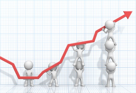 Turnaround. Dude 3D characters X7 business people pushing up Red Graph. Light Blue 3D Grid background.