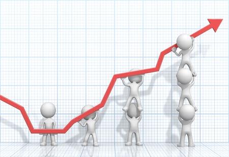 Girati. Dude 3D persone caratteri X7 affari spingendo verso l'alto Rosso Graph. Sfondo chiaro blu griglia 3D. Archivio Fotografico - 44783532