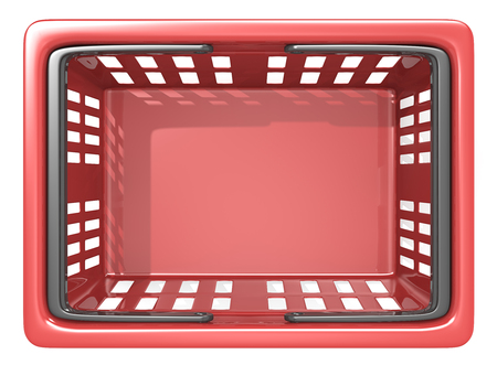 Shopping Basket. Top view of an empty Red Shopping Basket. Isolated.