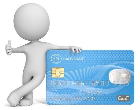 persons: Credit Card. Dude 3D character leaning against blue Credit Card showing thumb up. Generic name,numbers and logo.