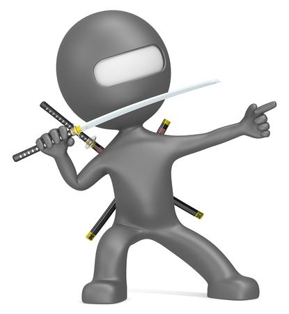 ninja weapons: Ninja. Dude 3D character The Little Ninja in a winning pose. Stock Photo