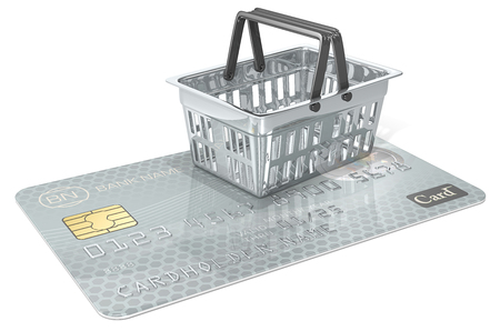 numbers abstract: Secure Shopping. Credit Card with abstract metal Shopping Basket. Generic name,numbers and logo.
