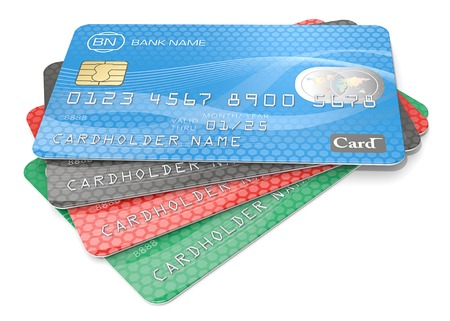 credit: Credit Cards. Pile of 4 Credit Cards. Blue, black red, green. Generic Names, Numbers and Logos. Stock Photo