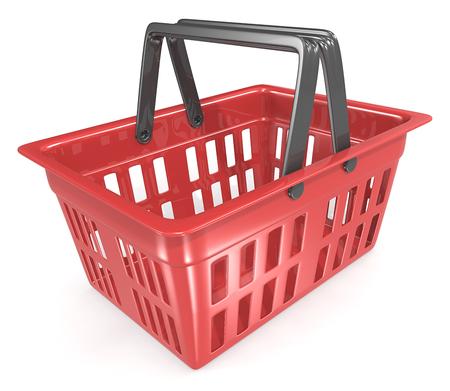 supermercado: Cesta de la compra. Vacío Rojo carrito. Foto de archivo