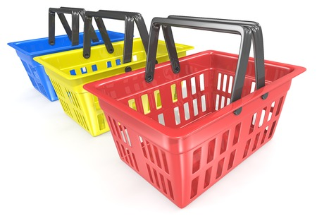 shopping baskets: Shopping baskets. Row of 3 Empty Red Shopping Basket. Red, yellow, blue. Stock Photo