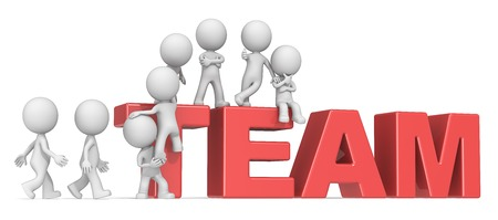 gather: Gather the Team. Dude 3D characters X8 climbing up on Red letters forming TEAM.