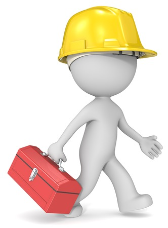 toolbox: Repairman. Dude 3D character the builder with toolbox and hardhat.