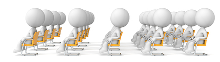 oration: Audience. Dude X20 the audience sitting in rows looking forward listening. Side view. Stock Photo