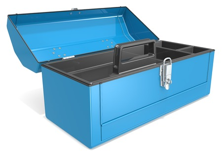 Empty Toolbox. Empty and open blue metal Toolbox. Imagens