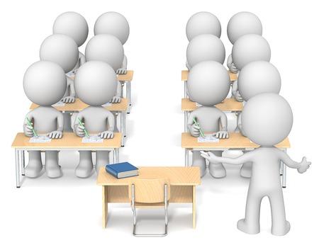 clases: Profesor y estudiantes. Amigo X12 los estudiantes y del profesor en el aula. Vista trasera.