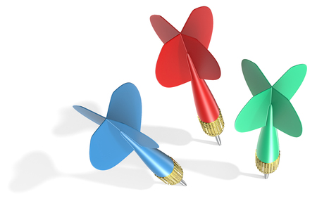 red arrows: Three Dart Arrows. Classic Dart Arrows. Red,blue and green. Hard shadow. Stock Photo