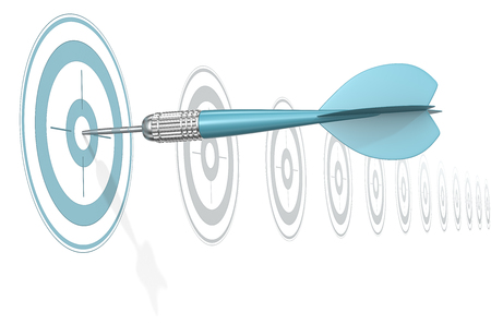 dart on target: Target Marketing. Dart Arrow hitting center of blue target. Horizontal row of gray targets. Stock Photo