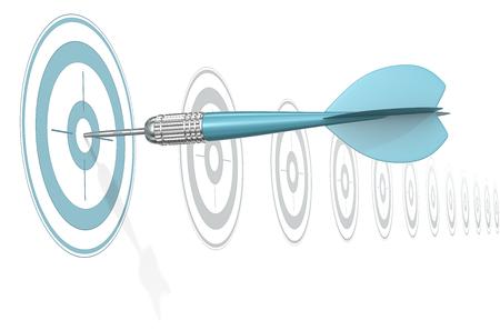 Target Marketing. Dart Arrow hitting center of blue target. Horizontal row of gray targets. Banque d'images