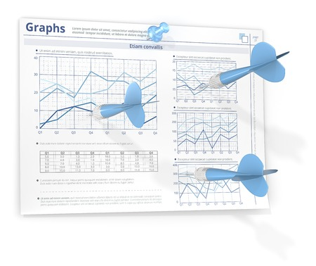 Forecasting. 3 Dart Arrows hitting Infographics paper on wall. Blue theme color. Stock Photo