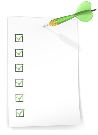 check list: Check list. Check list with tick boxes. Paper on wall by Dart Arrow. Green theme color. Stock Photo