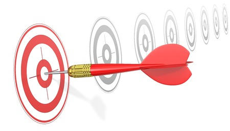 Hitting Target. Red Dart Arrow hitting center of red target. Angle view. Banque d'images