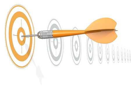 dart on target: Target Marketing. Dart Arrow hitting center of Orange target. Horizontal row of gray targets.