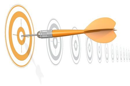 Target Marketing. Dart Arrow hitting center of Orange target. Horizontal row of gray targets.
