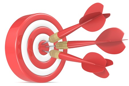 dart board: Bulls Eye. Red and white Dart Board with 3 red dart arrows. Stock Photo