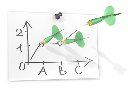 darts flying: Forecast. Paper with sketch graph and green dart arrows. One arrow flying about to hit target.