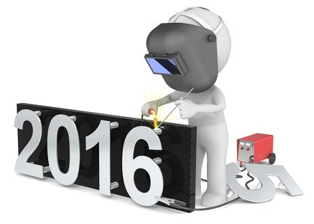 Gelukkig nieuwjaar. Dude 3D karakter De Welder veranderende nummer op New Year 2015-2016.