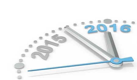 count down: New Year. Abstract clock of metal showing count down from 2015 to 2016. Blue second Hand. Stock Photo