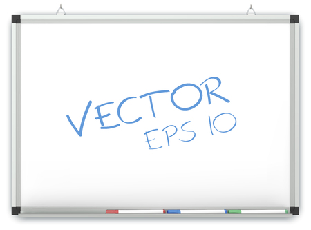 text marker: Vector Whiteboard. Whiteboard on wall with Marker Pens. Copy space.
