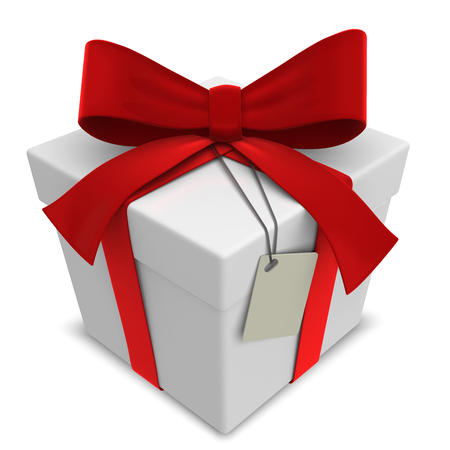 Vector Gift Box. Classic Gift Box with Red Ribbons. Blank Label for Copy Space.
