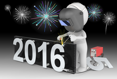 Fireworks and Happy New Year. Dude 3D character The Welder changing number on New Year from 2015 to 2016.  Fireworks on black sky. Stockfoto