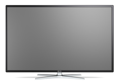 BRANDED: TV Screen. Non branded Widescreen TV on metal stand. Black frame. Blank for copy space.