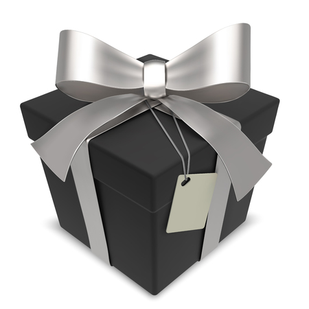 matte: Vector Black Gift Box. Matte Black Gift Box with Silver Ribbons. Blank Label for Copy Space.