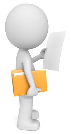 copies: Document. Dude 3D character holding manila folder and reading. Blank Paper for Copy Space. Side view. Stock Photo