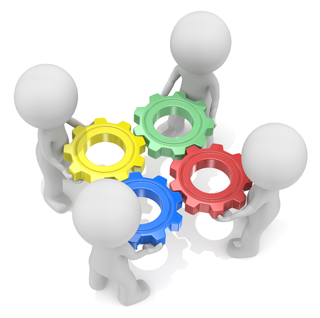 engranes: Teamwork. Dude 3D characters X4 holding Cogwheels. Red, Green, Blue and Yellow.Top view.