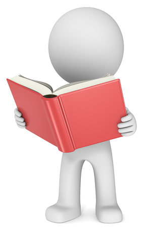 Lesen. Dude 3D Charakter hält und rotes Buch zu lesen. Vorderansicht.