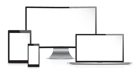 flat screen: Responsive Web Design. Vector of Non Branded Electronic devices. Front view. Copy Space.