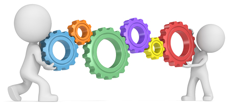 dude: Solutions. Dude 3D characters X2 holding 6 Colorful Cogwheels Side view.