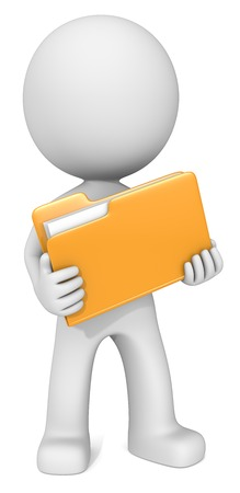 dude: File. Dude 3D character holding Orange Manila Folder. Front view.