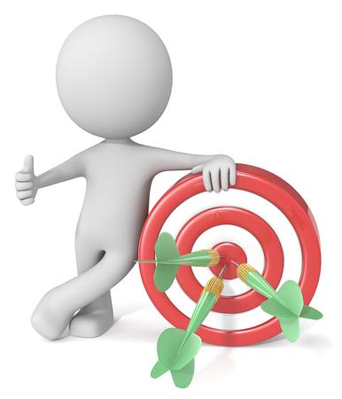Hitting Target. Dude 3D karakter geven duimen omhoog houden dartbord. Rood en wit bord met groene dart pijlen. Stockfoto