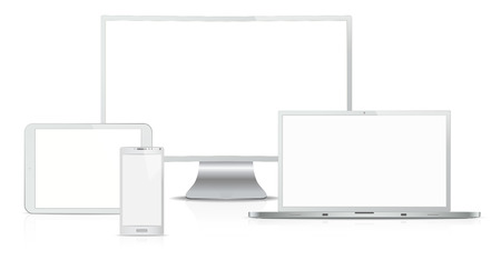 BRANDED: Responsive Web Design. Vector of Non Branded Electronic devices. Steel. Front view. Copy Space.