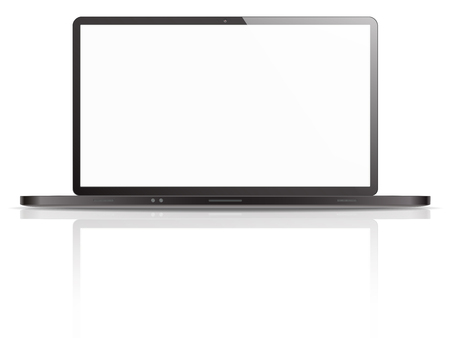 BRANDED: Black Vector Laptop. Vector of Non Branded Laptop with blank screen for copy space. Ground reflection. Black version.