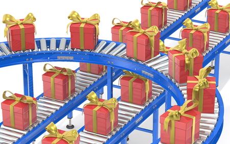 conveyors: Christmas Gift box production. Industrial Roller Conveyor System. Steel conveyors in various directions with Gift Boxes. Red with gold ribbons. Stock Photo