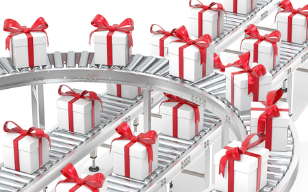conveyors: Gift box distribution. Industrial Roller Conveyor System. Steel conveyors in various directions with Gift Boxes. White with red ribbons.