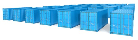 merchandise: Shipping. Landscape wide view of 35 blue Cargo Containers.