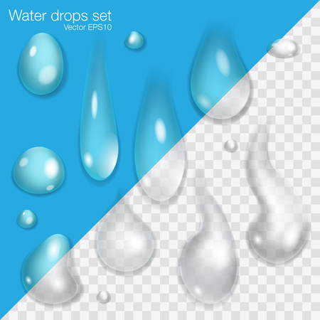 drops of water: Water Drops Set. Collection of transparent Water Drops. Illustration